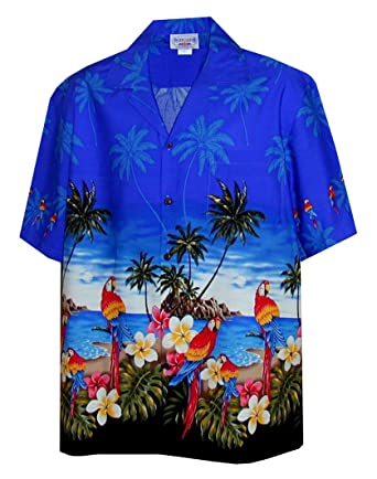 540ceff444f Amazon.com  Pacific Legend Men s Parrots Beach Border Hawaiian Shirt   Clothing
