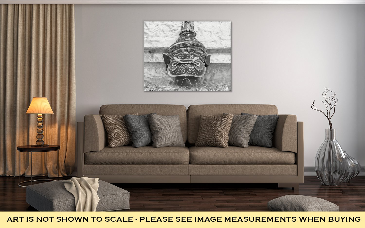 Ashley Canvas Old Faithful Close Up Thai Giant Statue Golden Pagodat Grand, Wall Art Home Decor, Ready to Hang, Black/White, 16x20, AG5593660