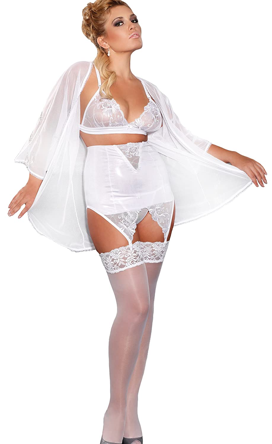 Exclusive 4pcs White Dream Plus Size (3XL-6XL) Lingerie Set BNIB