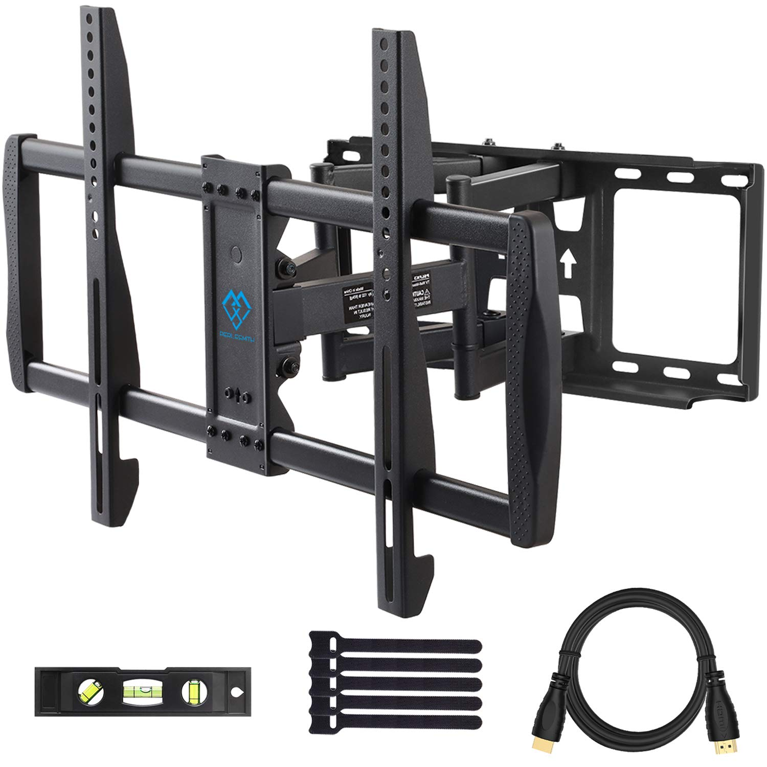 PERLESMITH Full Motion TV Wall Mount - Dual 6 Arms Articulating TV Mount for 37-70 Inch LED, LCD, Plasma TVs up to 132lbs VESA 600x400, Features Smooth Articulation, Swivel, Tilt - PSLFK3