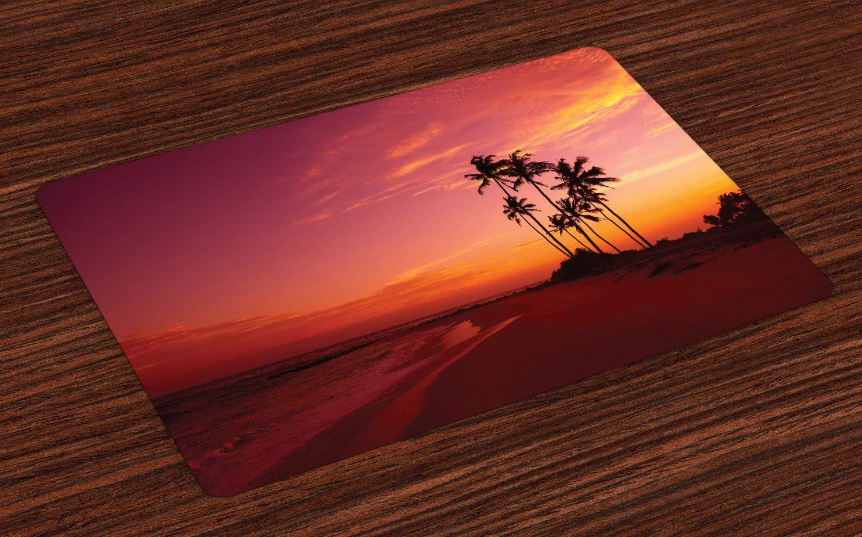 ABAKUHAUS Ozean Platzmatten, Exotisches Strand-Foto über dem Ozean Fantastische Hawaii-Palmen am Sonnenaufgang-Sommer-Märchenland, Tiscjdeco aus Farbfesten Stoff für das Esszimmer und Küch, Rot