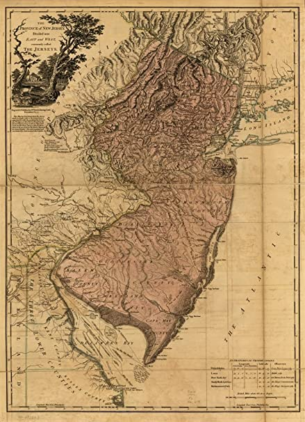 Amazon.com: Vintage 1777 Map of The Province of New Jersey ... on oklahoma map, maine map, new jersey beaches map, sdny map, la map, camden map, arkansas map, li map, washington street mall map, rumson new jersey map, jersey shore map, ohio map, the dc map, florida map, ny map, new jersey state county map, fla map, new jersey road map, indiana map, tn map,