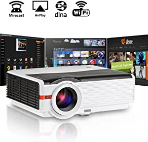 Video Projector WiFi HDMI, EUG HD Wireless LCD Projector 4200 Lumens, LED Android HDMI USB VGA AV Multimedia Home Cinema Projectors, Support 1080P 720P for Home Movies Gaming TV DVD Indoor Outdoor