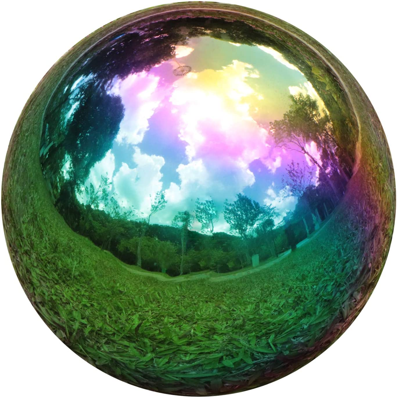 YeahaWo Rainbow Gazing Globe Mirror Balls for Garden Home Stainless Steel Shiny Hollow Sphere Sparkling Outdoor Ornament (3 Inch)
