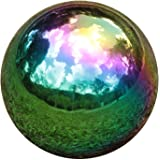 YeahaWo Rainbow Gazing Globe Mirror Balls for Garden Home Stainless Steel Shiny Hollow Sphere Sparkling Outdoor Ornament…