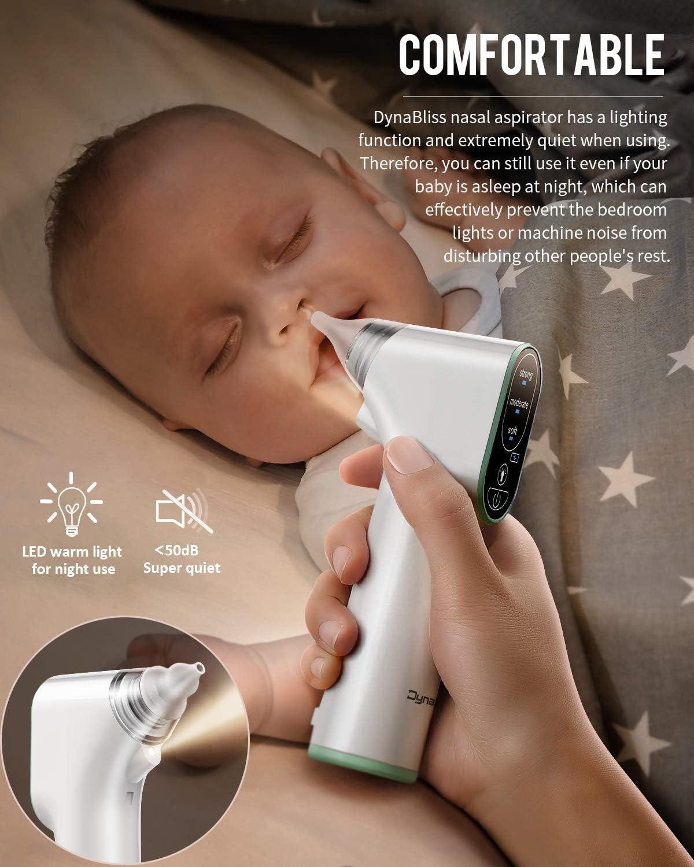 DynaBliss Aspirateur nasal /électrique pour b/éb/é avec 4 embouts en silicone et 3 niveaux daspiration mouche-b/éb/é rechargeable avec pince nasale et flacons goutte et brosse de nettoyage