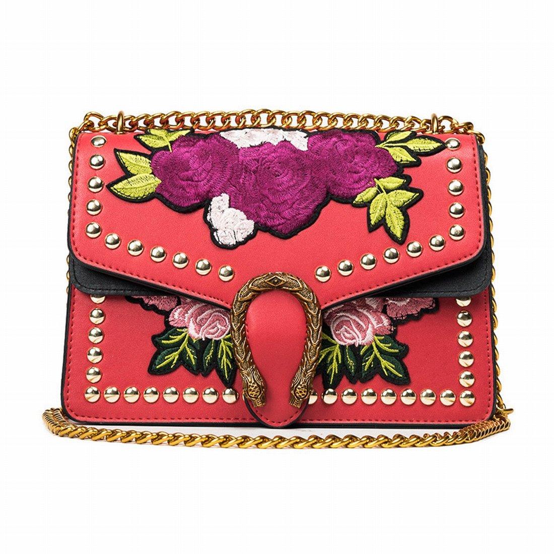 Weiblich betroffen Farbe Blume Wein Götter Paket Umhängetasche Mode Einfache Kette schräg Paket