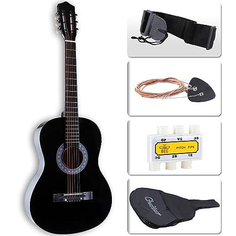 Lagrima principiantes acústica guitarra w/funda para guitarra, correa, afinador, cuerdas y