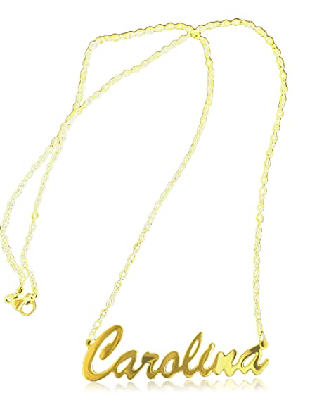 Amazon.com: Personalized Name Necklace Carolina Pendant 14k ...