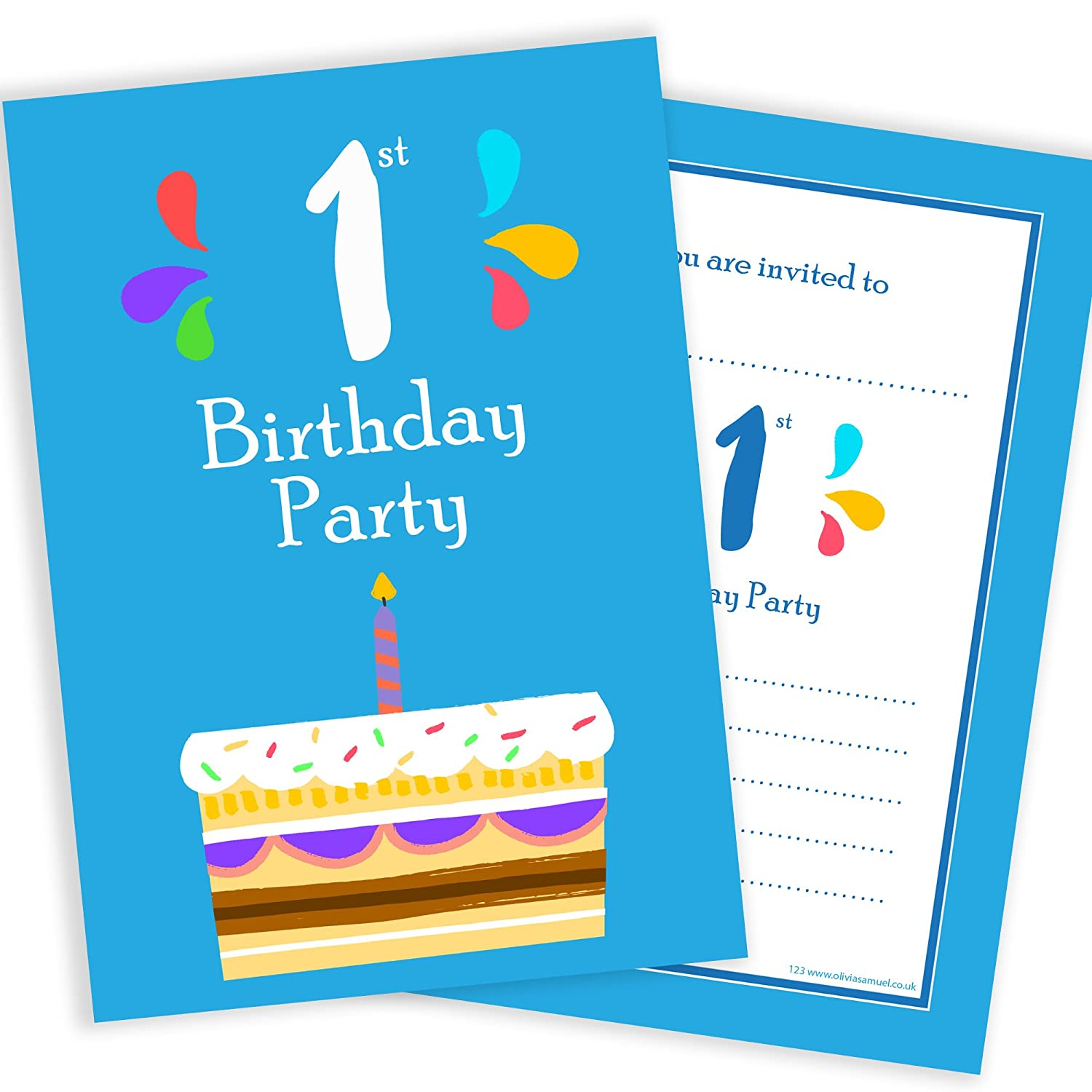 1st Birthday Party Invitations - 1 Candle Blue Cake Design - A6 Postcard Size with envelopes (Pack of 10) Olivia Samuel