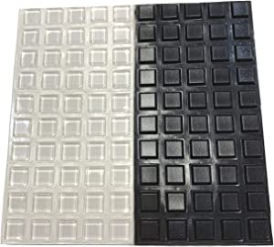 "Pack of 100 Square Adhesive Bumper Pads (Clear, Black Combo) - Made in USA – ½"" Diameter Rubber Feet for Laptops, Electronics, Cutting Boards, Picture Frames, Small Appliances, Glass Tops"