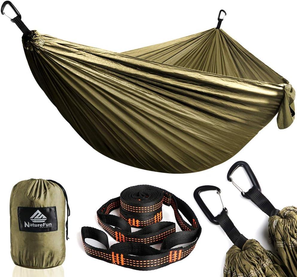 NatureFun Hamaca ultraligera para camping  300kg de capacidad de carga, (300 x 200 cm) Estilo paracaídas de Nylon, transpirable y de secado rápido. 2 mosquetones premium, 2 eslingas de nylon incluidas