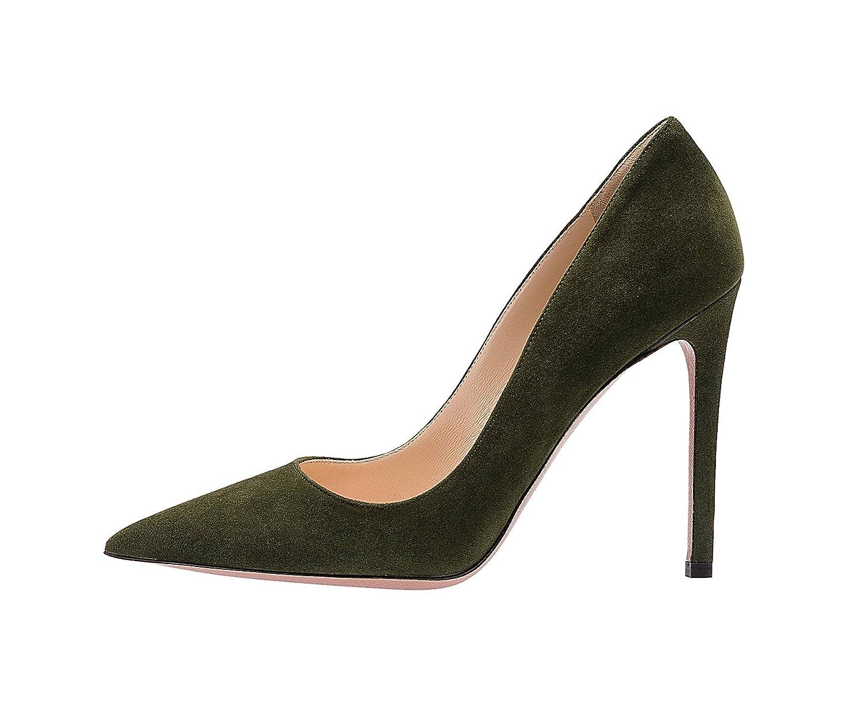 SexyPrey Women's Pointy Toe Stiletto Shoes Formal Office Evening Pumps B074M4X8P7 9 B(M) US|Dark Green Suede