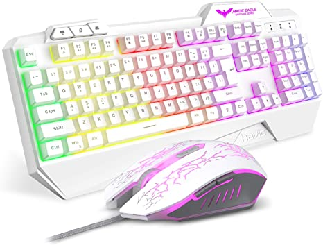 Gaming Keyboard Mouse Combo Set Laptop Notebook Wired Rainbow Led Backlit 104 Keys Ergonomic Gamer Keyboard for Computer Desktop PC