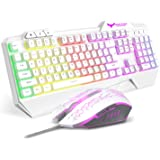 HAVIT Rainbow Backlit Wired Gaming Keyboard and Mouse Combo (White)