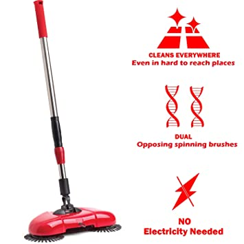 Manual Madera Suelo barredora Cordless – Casa Oficina Casa plantas Turbo Sweeper escoba – Cepillos de