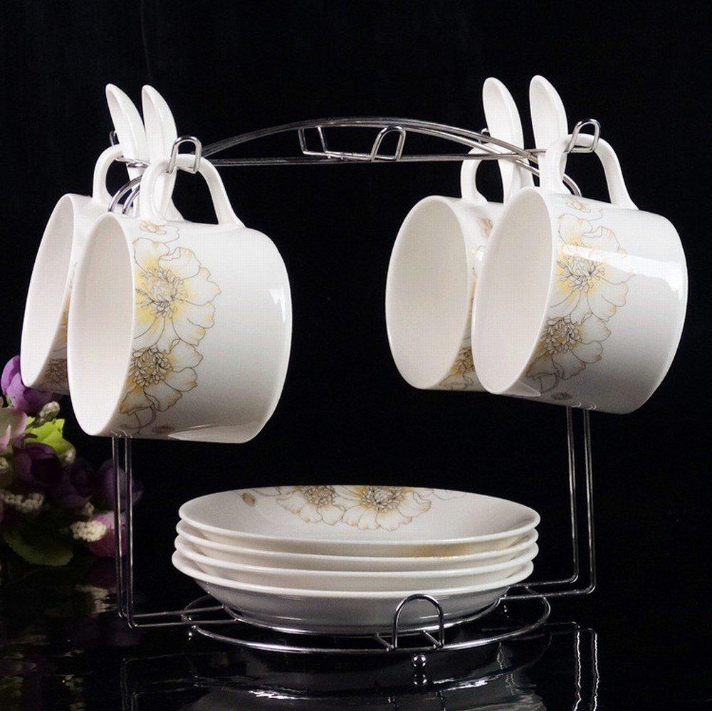 PLLP European Ceramic Coffee Mug Set High-Grade Phnom Penh Creative Set of 4 Bone China Coffee Cup Saucer with Shelf,A