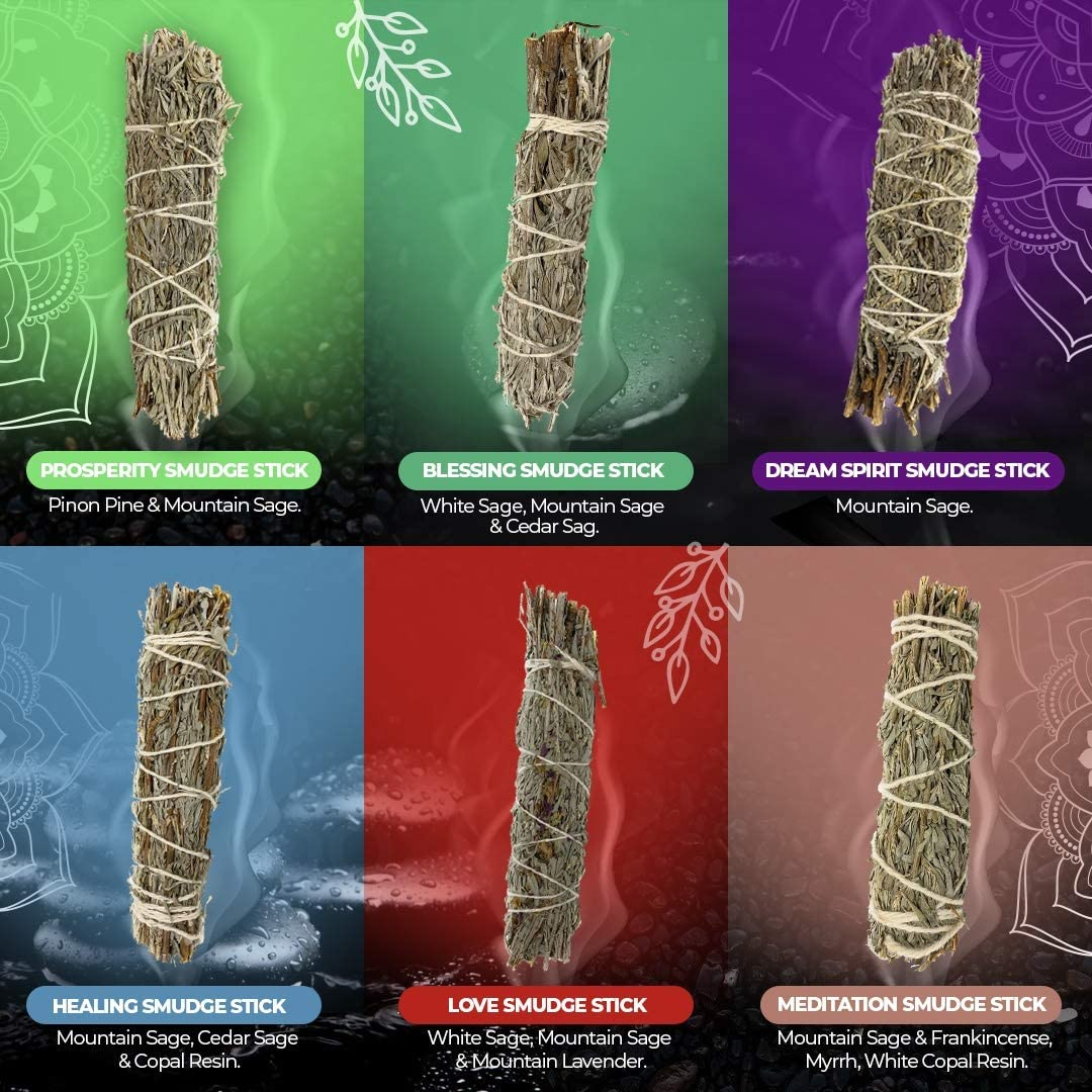 Sage Sticks Cleansing and Healing - 6 Mountain Sage Smudge Sticks For Cleansing - Smudging Sage Bundles To Cleanse Home - Sage Smudge Kit Home Cleansing - Burning Sage for Cleansing Negative Energy