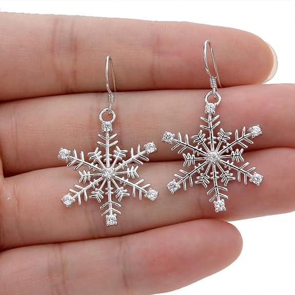 Pewter Winter Earrings Handmade large Snowflake Earrings Snowflake Jewelry Gift for Her,