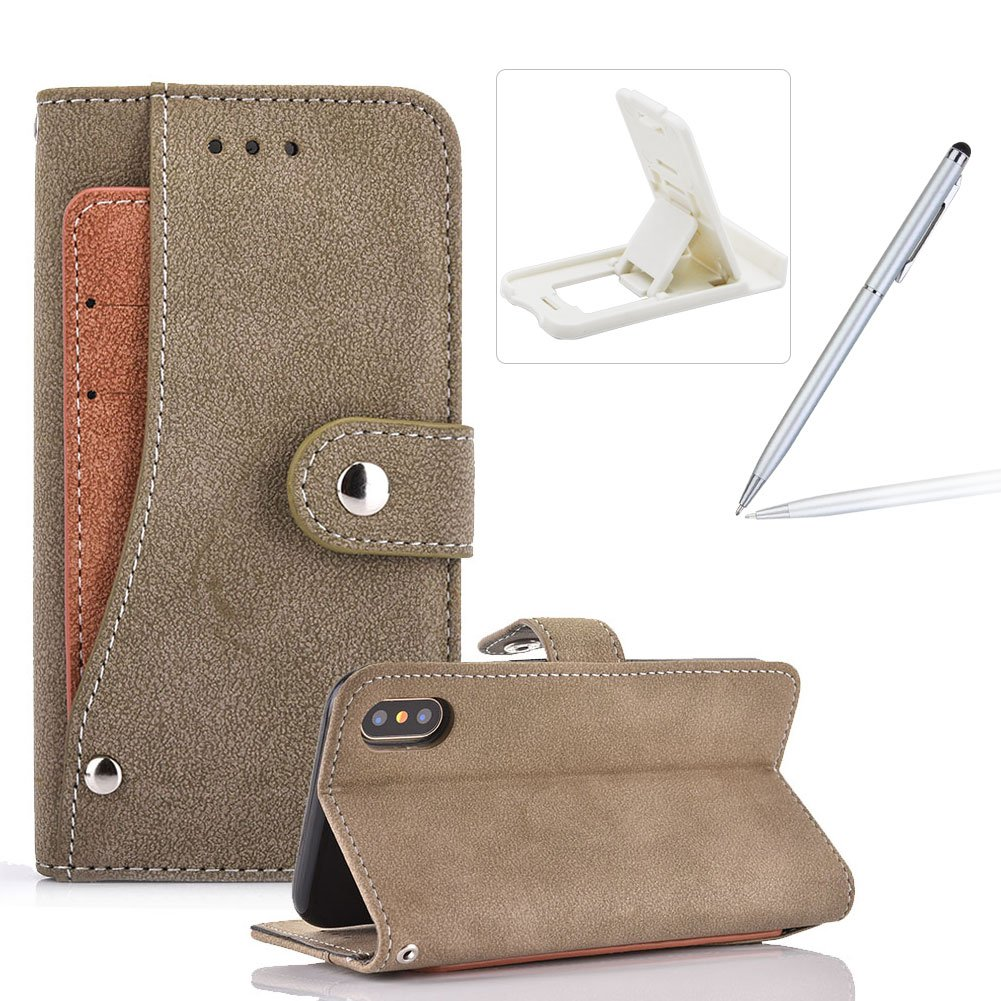 Gray Leather Case for iPhone XS/iPhone X,Wallet Stand Flip Case for iPhone XS/iPhone X,Herzzer Stylish Premuim Unique Rotating Card Slot Design Shockproof Magnetic PU Leather Case with Soft Silicone Inner Back Case