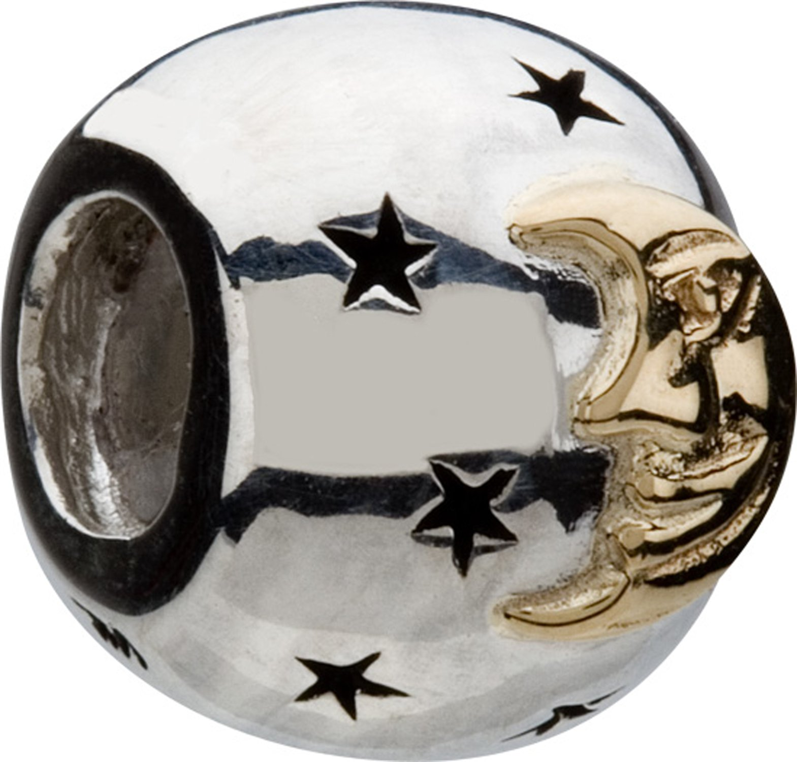 Chamilia Sterling Silver & 14K Gold Star & Moon Bead Charm