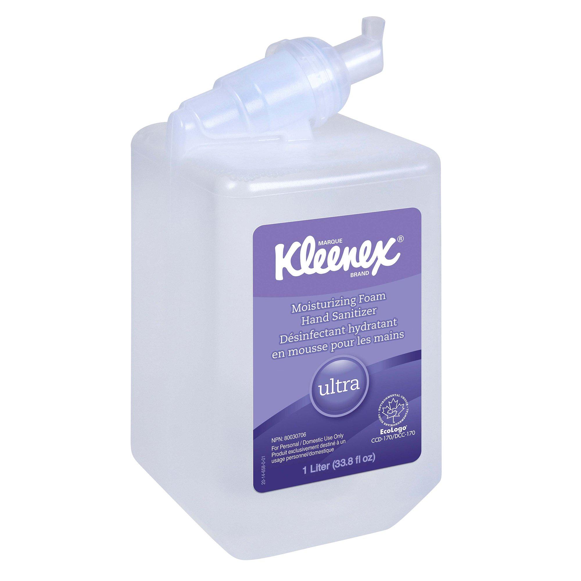 Kleenex Ultra Moisturizing Foam Hand Sanitizer (34700), Clear, 1.0 L Cassette Package, 6 Packages / Case