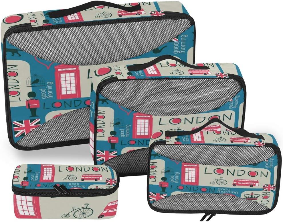 BIGJOKE - Juego de 4 Cubos de Embalaje de Viaje, diseño de Inglaterra, Londres Big Ben: Amazon.es: Equipaje
