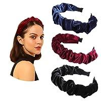 AWAYTR Velvet Ruffled Headband Spanish Vintage Style Alice Hair Band Matador Headband (navy blue+black+wine red)