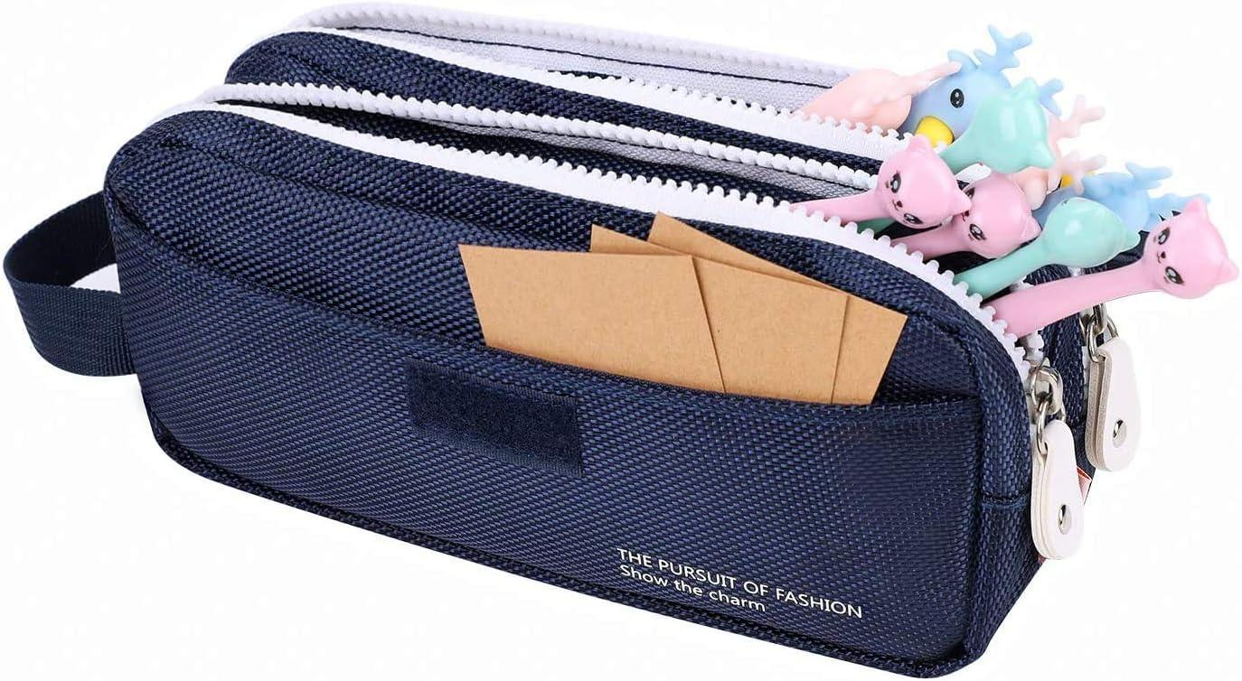 Estuche escolar de lona para lápices de dos niveles, multifuncional, con cremallera, para estudiantes de escuelas primarias, color azul real: Amazon.es: Oficina y papelería