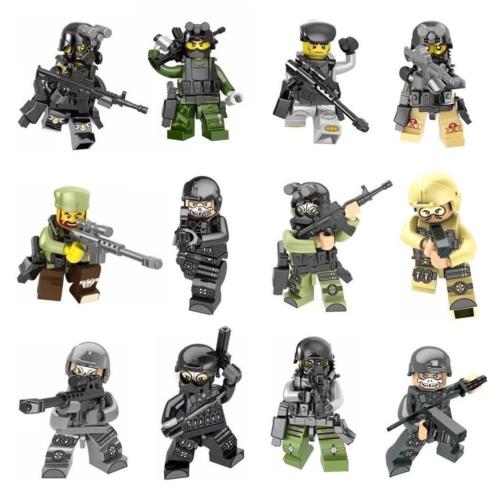 12pcs Army Minifigures SWAT Team with Military Weapons Accessories Policeman Soldier Minifigures Toys Building Blocks 100%Compatible (12 Weapons) ZDToys