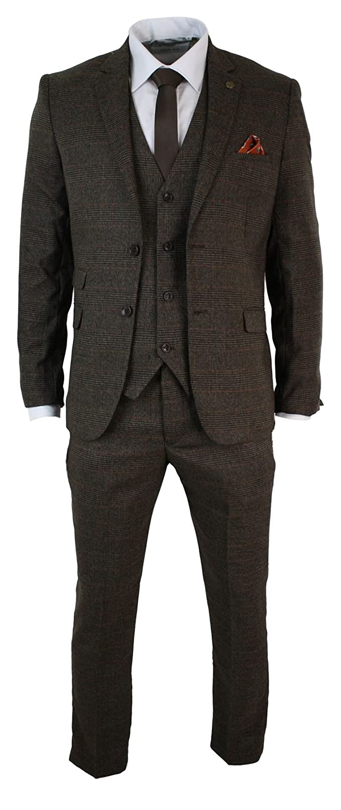 Mens Herringbone Check Trouser Vintage Tweed Slim Fit Smart Formal Pant Tan Grey