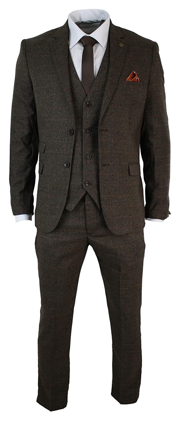 1900s Edwardian Men's Suits and Coats Marc Darcy Mens Tailored 3 Piece Check Herringbone Tweed Suit Retro Tan Brown $176.99 AT vintagedancer.com