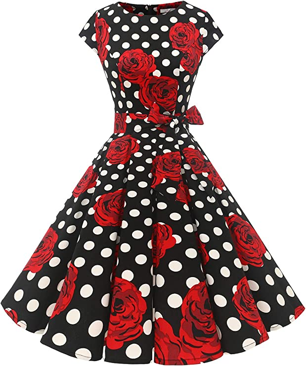 TALLA XS. Dressystar Vintage 1950s Polka Dot and Solid Color Prom Dresses Cap-Sleeve Black White Rose XS