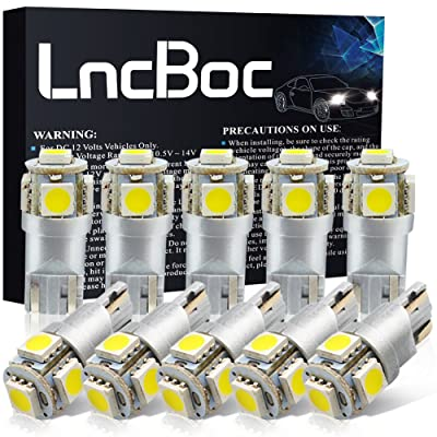 LncBoc T10 LED Bulbs 194 LED Light Bulb 6000K 168 LED Bulb W5W White Wedge Super Bright 5-SMD 5050 ChipSets for License Plate Car Dome Map Door Courtesy Lights (Pack of 10): Automotive