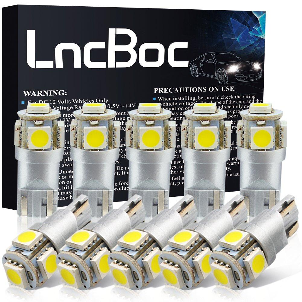LncBoc Bombillas LED T10 W5W LED Coche 5SMD 5050LED 501 2825 175 192 168 194 Wedge Lampara para coches 6500K Xenón Blanco de interior y exterior 12V Paquete ...