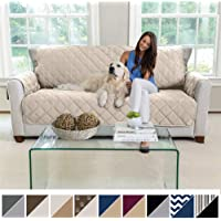 MIGHTY MONKEY Premium Reversible Large Sofa Protector for Seat Width up to 70 Inch, Furniture Slipcover, 2 Inch Strap, Couch Slip Cover Throw for Pets, Dogs, Kids, Cats, Sofa, Beige Latte