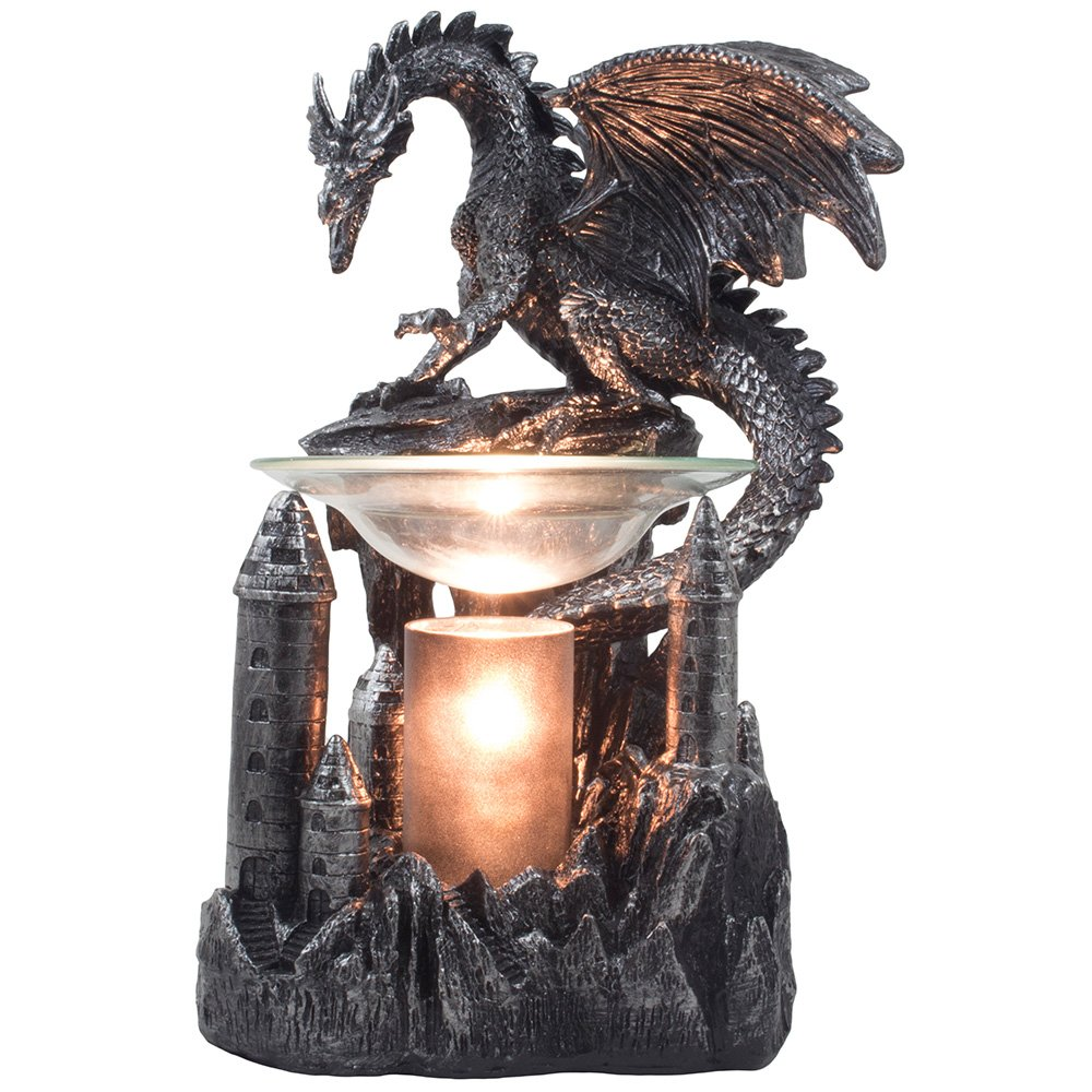Mythical Winged Dragon Guarding Castle Electric Oil Warmer or Wax Tart Burner for Decorative Medieval & Gothic Decor Statues and Figurines As Aromatherapy Essential Scented Oil Gifts for Dragon Lovers DWK Corp.