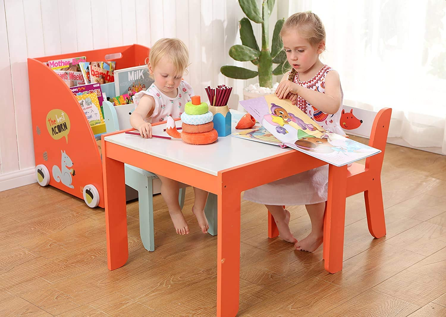 labebe-Kids Table and Chairs,Wooden Activity Table Sets for Children,Baby Toddler //Play Table// Small Table and Chair for 1-5 Year Old,White Fox