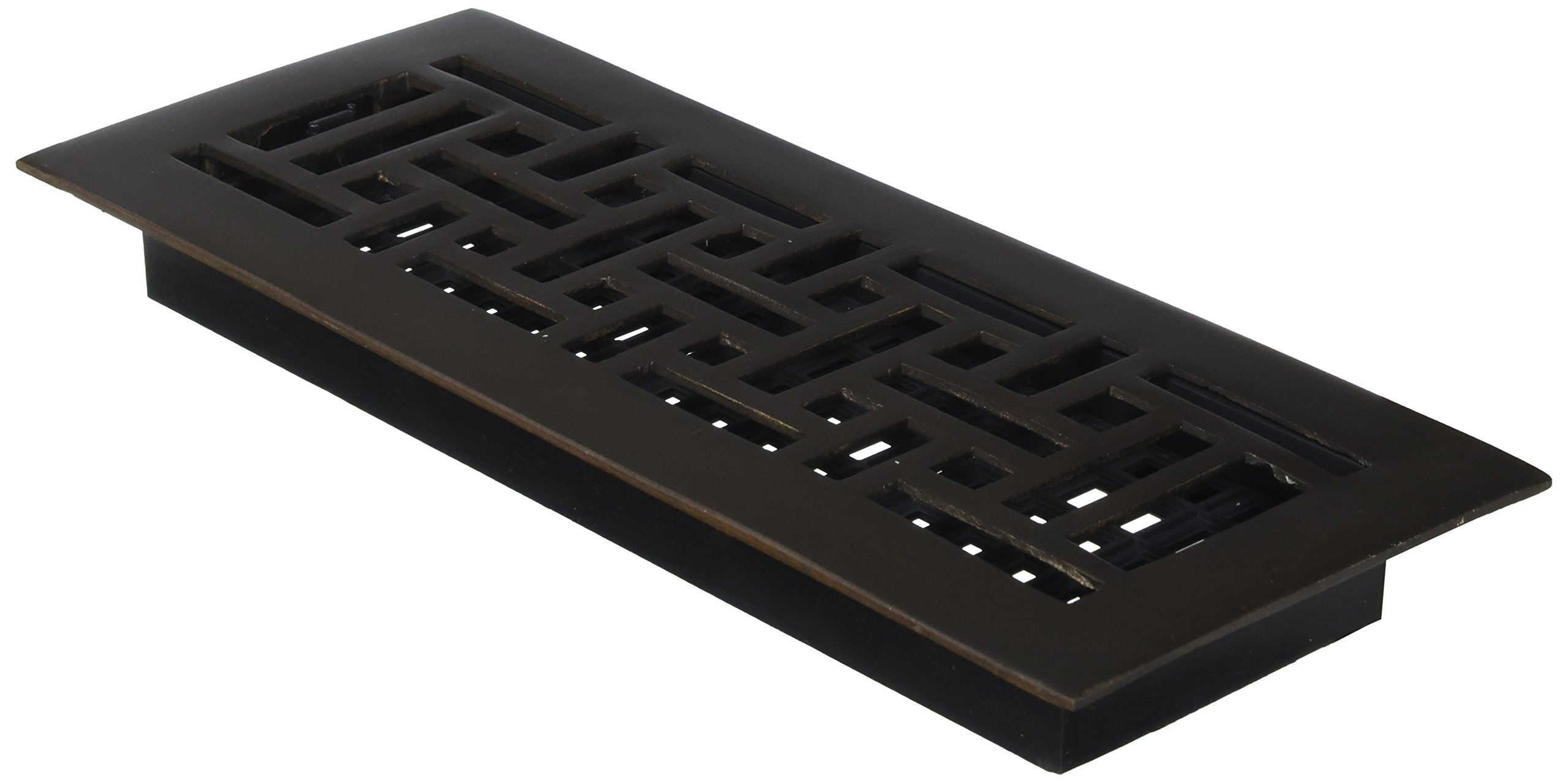 Decor Grates AJ412-RB 4-Inch by 12-Inch Oriental Floor Register, Solid Brass with Rubbed Bronze Finish