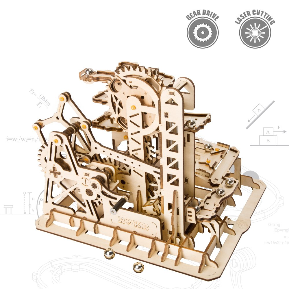 ROKR Wooden Marble Run Sets-Assembly Magic Tracks Toys-Fantastic Educational Toy-Wooden Puzzle Model Kit-Home Decor-Unique Christmas, Birthday Gifts for Boys, Girls, Teens, Adults(Marble Squad)
