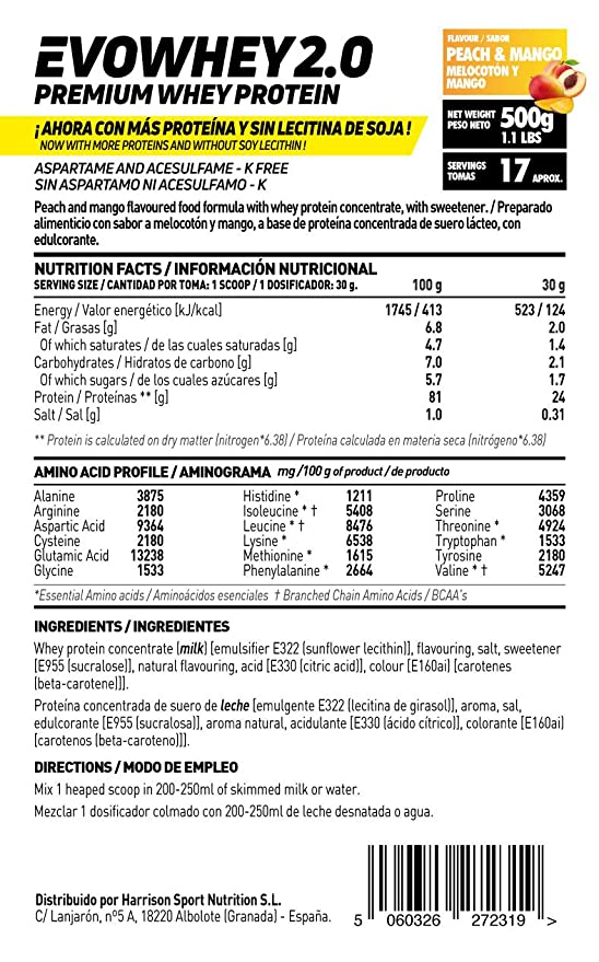 Whey Protein Concentrate (WPC) de HSN Sports - Concentrado de Proteína de Suero Evowhey 2.0 - Sabor Melocotón Mango - 500 gr: Amazon.es: Salud y cuidado ...