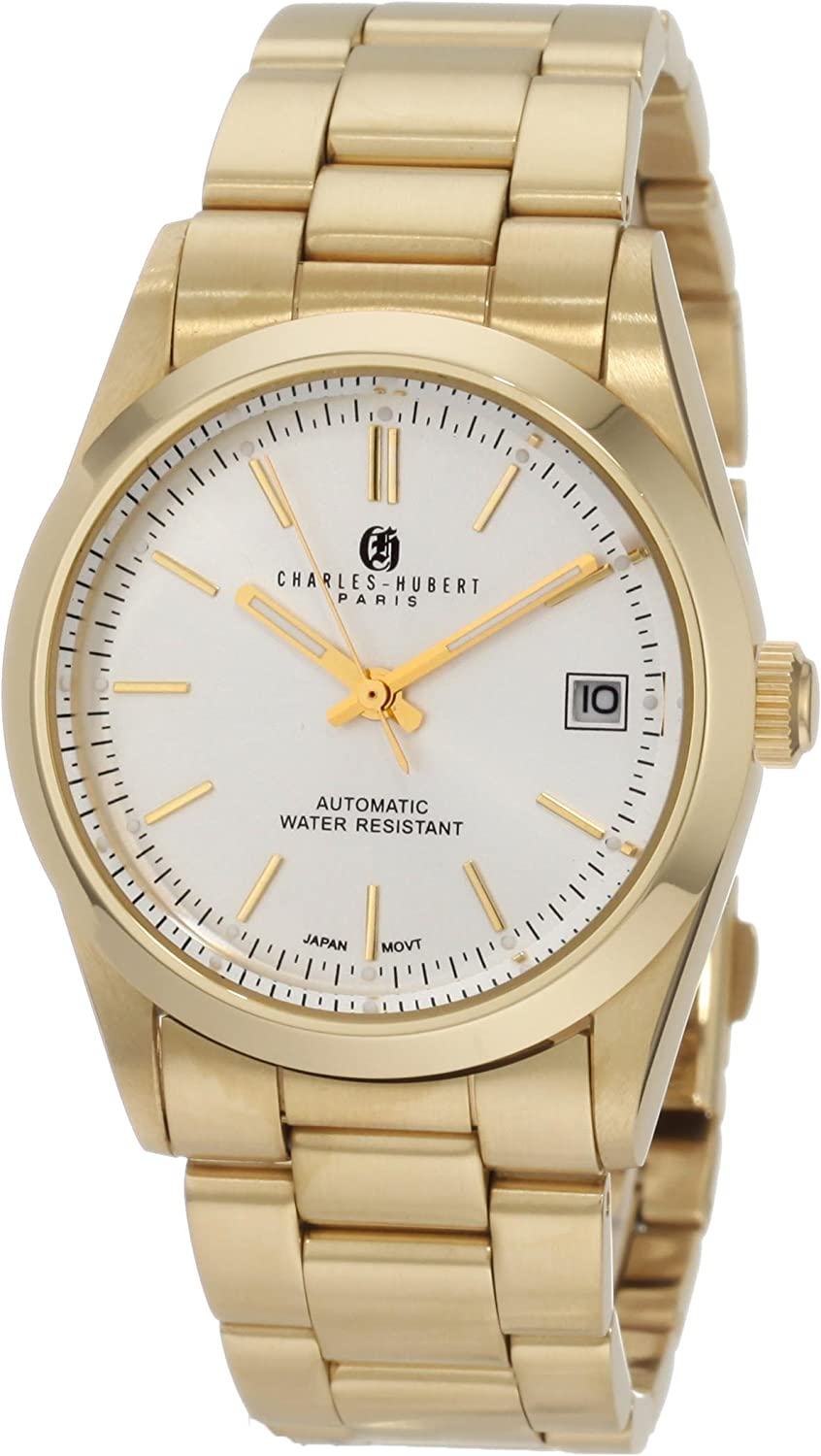 Charles-Hubert, Paris Men s 3826 Premium Collection Gold-Plated Stainless Steel Automatic Watch