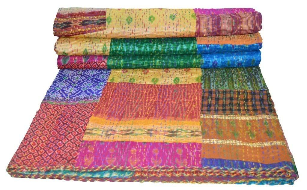 Elegant Designs Twin Size Patola Silk Patch Work Kantha Quilt, Kantha Blanket Bedspread, Patch Kantha Throw, Twin Kantha, Kantha Rallies Indian Sari Quilt, Size 60'' X 90''