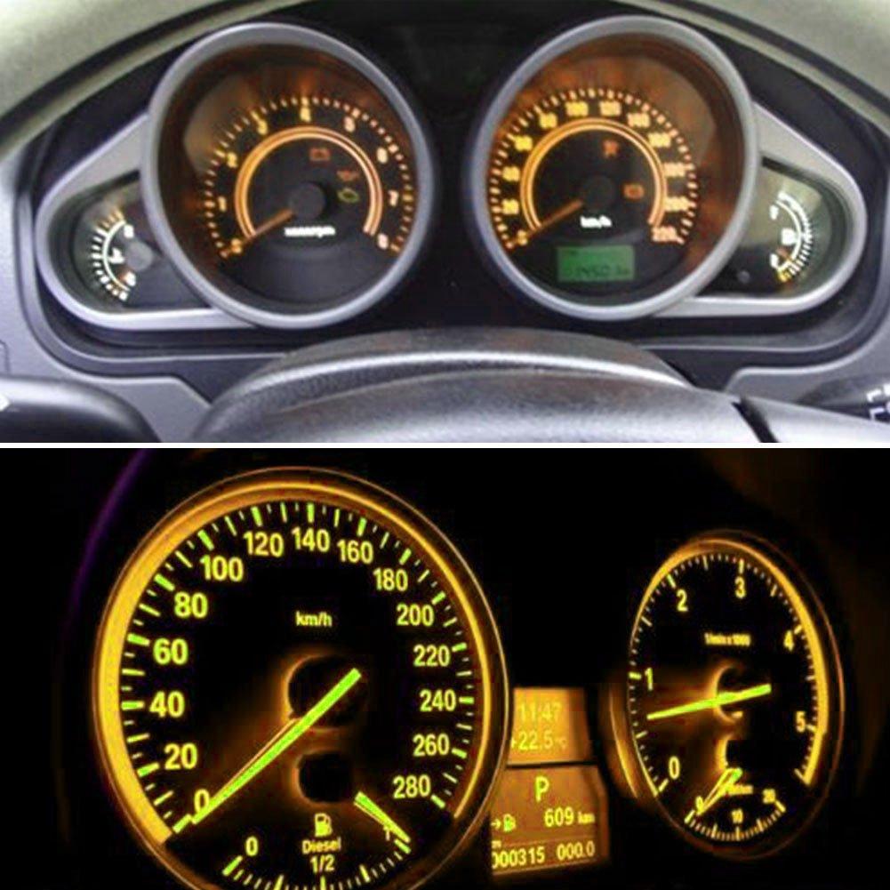 TABEN T5 70 73 74 79 85 86 206 406 LED Bulbs COB 1SMD Blue 1W 12V Car Interior Instrument Cluster Gauge LED Lights Dashboard Signal LED Bulbs Pack of 100