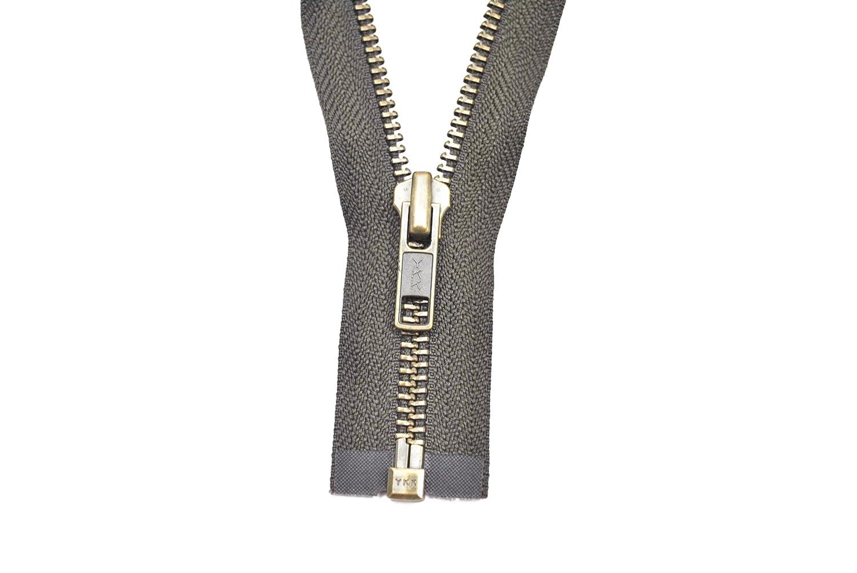 Ykk cremallera 1 camino divisible 5mm oscuro beige 85 cm metal dientes de metal