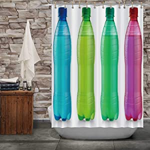 Tstyrea Water Plastic Bottle - OVA,Shower Curtain Bottle Bathroom Decor Set with Hooks 84X72in