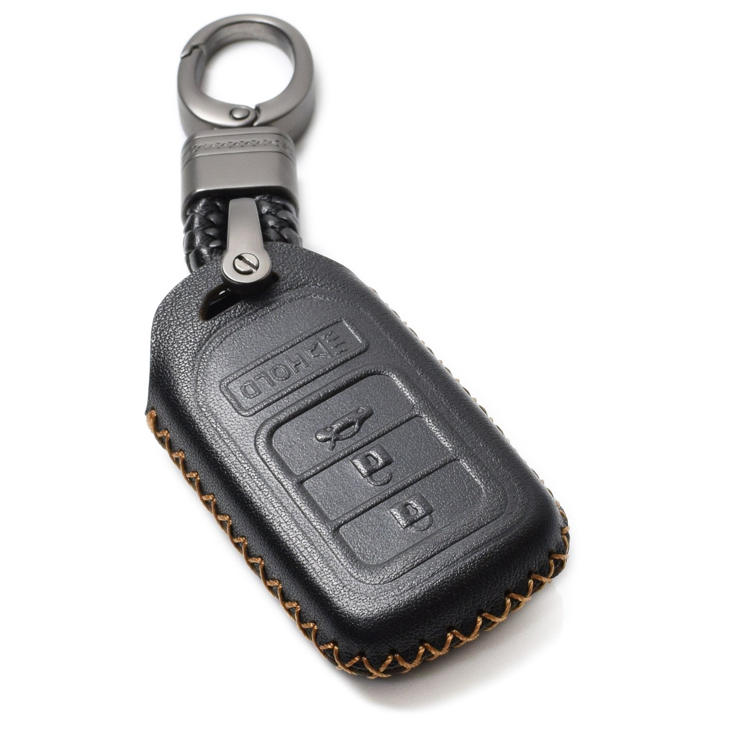 Vitodeco Genuine Leather Smart Key Keyless Remote Entry Fob Case Cover with Key Chain for Honda Civic, Fit, Accord, Pilot, CR-V (4 Buttons, Black) Vitodeco Inc