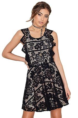 For Love and Lemons Gianna Backless Apron Mini Lace Dress,