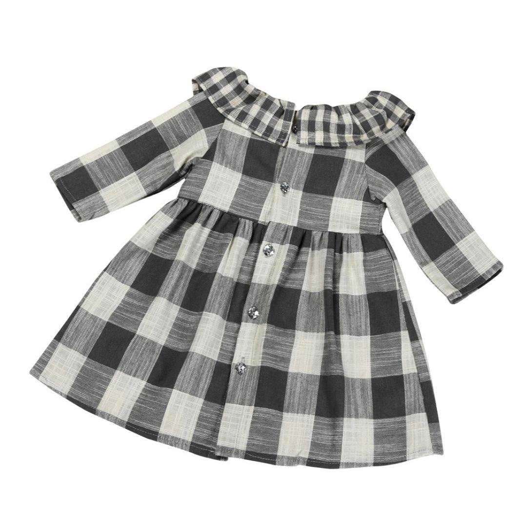 WARMSHOP Baby Girls Dress Toddler Kids Long Sleeve O-Collar Plaid Striped Button Clothes Dress