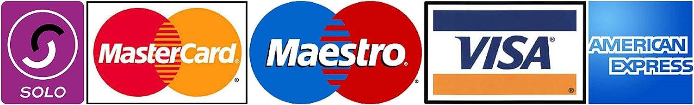 Pegatina adhesiva de medios de pagos aceptados con Logotipos de Tarjeta de Cr/édito y de d/ébito Taxis 180 x 40/mm para tienda Hotel